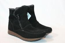 Sporto womens 8.5 wide black suede leather winter snow boots grain