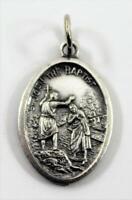 Vintage Silver Tone St John the Baptist Catholic Medal ~ Italy