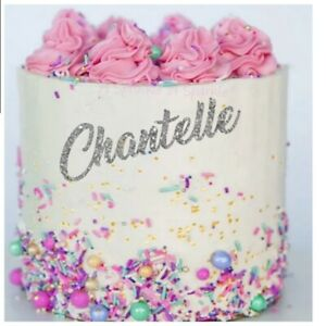 PERSONALISED GLITTER FOIL METALLIC CAKE CHARM CAKE TOPPER CUSTOMISED NAME