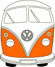 ORANGE VW CAMPER VAN RETRO IRON ON T SHIRT TRANSFER