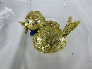 Vtg Tinsel Glitter Bird Ornament Candy Container GOLD West Germany