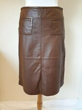 OASIS brown Real Leather Pencil Skirt Size UK 10 Eur 36 BNWT RRP £124