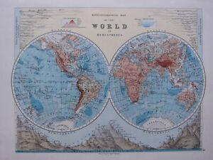 1918 MAP WORLD WESTERN EASTERN HEMISPHERES MOUNTAINS LAKES AFRICA EUROPE ASIA