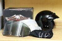 Harley Davidson Motorcycle Half Helmet with visor DOT Black  Size Medium M