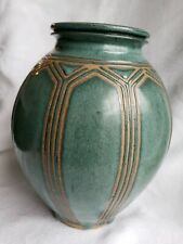 VASE ART POTTERY COLLECTIBLE GREEN STUDIO ART POTTERY STUNNING SIGNED