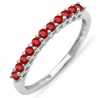 0.40 Carat 10K White Gold Round Ruby Anniversary Stackable Wedding Band (Size 8)