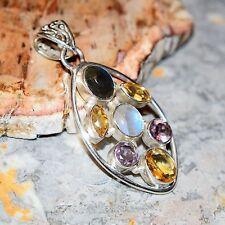 Lovely Multi Gem 925 Silver Pendant - Indian