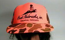 Vintage Hunt Nebraska, inc. Orange Camo Baseball Cap Hat Phesant Hunting