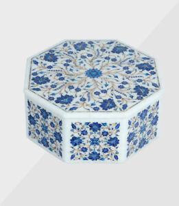 Marmor Schmuckkästchen Inlay Semi Precious Steine Handmade Arbeit
