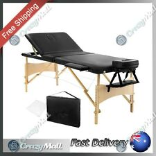 Portable Wooden Massage Table 3 Fold Adjustable Height Beauty Therapy 70cm Black