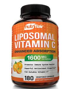 Premium LIPOSOMAL Vitamin C NutriFlair DOUBLE STRENGTH 1600mg 180 Caps