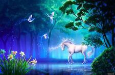 "Unicorn Pond Forest A2 CANVAS PRINT Art 18""X 24"""