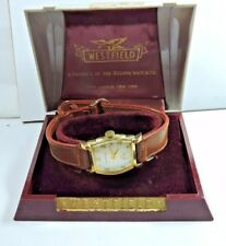 NOS Bulova Westfield Mens Wrist Watch Yellow Top SS Back Leather Strap Old Box
