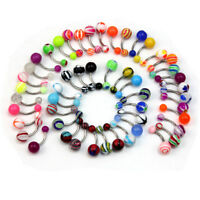 Lot Of 50 Mix Color Stainless Acrylic Ball Barbell Bar Navel-Belly Button Ring