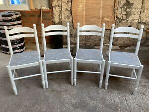 Farmhouse Style White Painted Kitchen Dining Chairs x 4 Fabric Seats