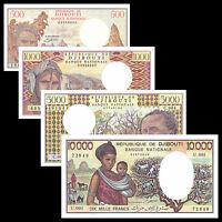 Djibouti SET 4 PCS, 500 1000 5000 10000 Francs, P-36 37 38 39, UNC