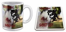 Warning Loopy RABBIT Lady Funny  Gift Mug & Glossy Coaster Set