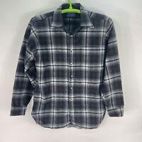 Vintage PENDLETON Button Up Flannel 100% Virgin Wool Shirt Plaid Sz Large Black