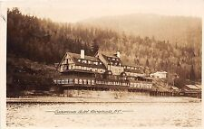 Canada real photo postcard Sicamous Hotel view from water British Columbia 1927