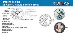 Movement MIYOTA Cal. 6P27,Multi-Función. 3EYES