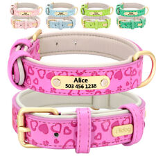 Custom Leather Dog Collar Personalized Brass Nameplate Tag Cute Heart Pattern