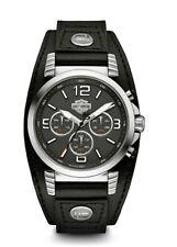 Harley-Davidson® Bulova Men's Chronorgraph Leather Cuff Steel Wrist Watch 76B173