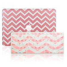 "Matte Chevron Pink Hard Case + Keyboard Cover for Macbook Pro 15"" Retina A1398"