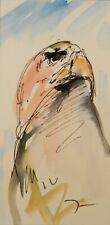 JOSE TRUJILLO ORIGINAL Watercolor Painting Small 3x6 Bird Eagle Expressionist