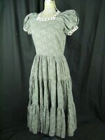 Vtg 50-60s Black/Blue/Pink Floral Printed Country Style Long Dress-Bust 35/XS