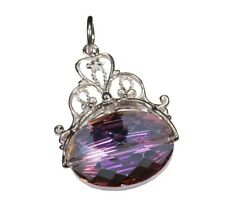 VINTAGE SILVER LARGE FILIGREE ELECTRA PURPLE GLASS CRYSTAL FOB CHARM