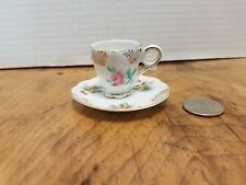 Vintage Tiny Tea Cup and Saucer Roses & Gold Mesh Design OCCUPIED Japan