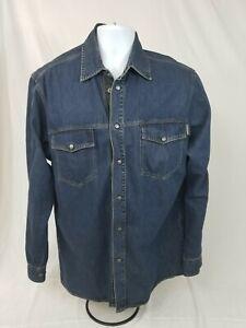 Robert Comstock Mens Western Cowboy 🤠 Denim Long Sleeve Shirt 👔 Large Italy