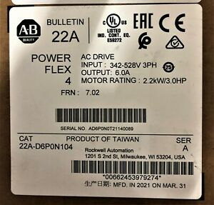 Allen Bradley 22A-D6P0N104 Series A PowerFlex 4 AC Drive 480VAC 3-P 3HP NEW