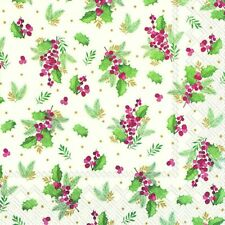 CYNTHIA cream Holly  Christmas Berries Napkins Dinner size 40cm 3 ply 20 pack