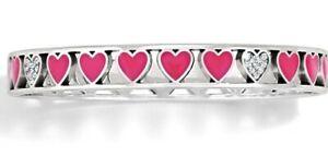 NWT Brighton BONBON HEARTS Valentine Love PINK Enamel Bangle Bracelet MSRP $48