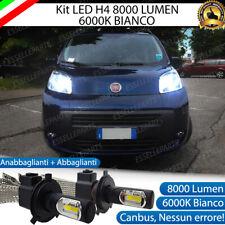 KIT FULL LED FIAT QUBO LAMPADE LED H4 6000K BIANCO GHIACCIO NO ERROR 8000 LUMEN