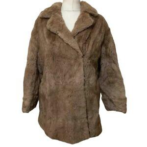 Faux Fur Coat Ladies 14 Brown H2