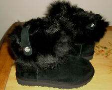 UGG VALENTINA BLACK SUEDE Swarovski Crystal Boots NIB Size 5