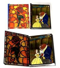 LE JUMBO Disney Pin✿Stained Glass Storybook Beauty Beast Belle Enchanted Rose LE
