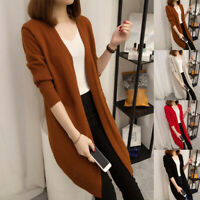 Autumn Women Long Sleeve Knitted Cardigan Sweater Long Coat Casual Outerwear New