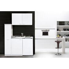 respekta Mini Pantry Single Küche Küchenblock 130 cm weiss mit Kühlschrank