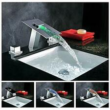 LED Waterfall Colors Changing Bathroom Basin Mixer Sink Faucet (HDD745)