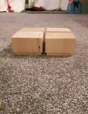 A set 4 wooden sofa feet 50mm high furniture pine square legs chair settee