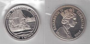 GIBRALTAR 1 CROWN UNC COIN 2005 YEAR SHIP TRAFALGAR BATTLE FIRST SHOOT