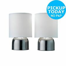 ColourMatch Pair of Touch Table Lamps - Super White