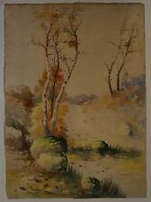 L. BECHARD  (XIX/XX) Gouache - LES BOULEAUX  - Signé