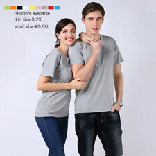 100% Cotton Men Women Tee T-Shirt Crew Neck Plain Short Sleeve Top Plus Size 6xl