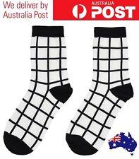 CUTE GRID SOCKS - CASUAL WHITE & BLACK - TUMBLR FASHION UNISEX - FREE POSTAGE