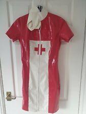 RED PVC NURSE UNIFORM *LOUIMANE* Sexy.NURSES COSTUME DRESS OUTFIT in sizes 8-10