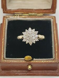 9ct Gold Cubic Zirconia Flower Cluster Ring
